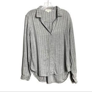 Cloth & Stone Pinstripe Gray Button Down Sz M